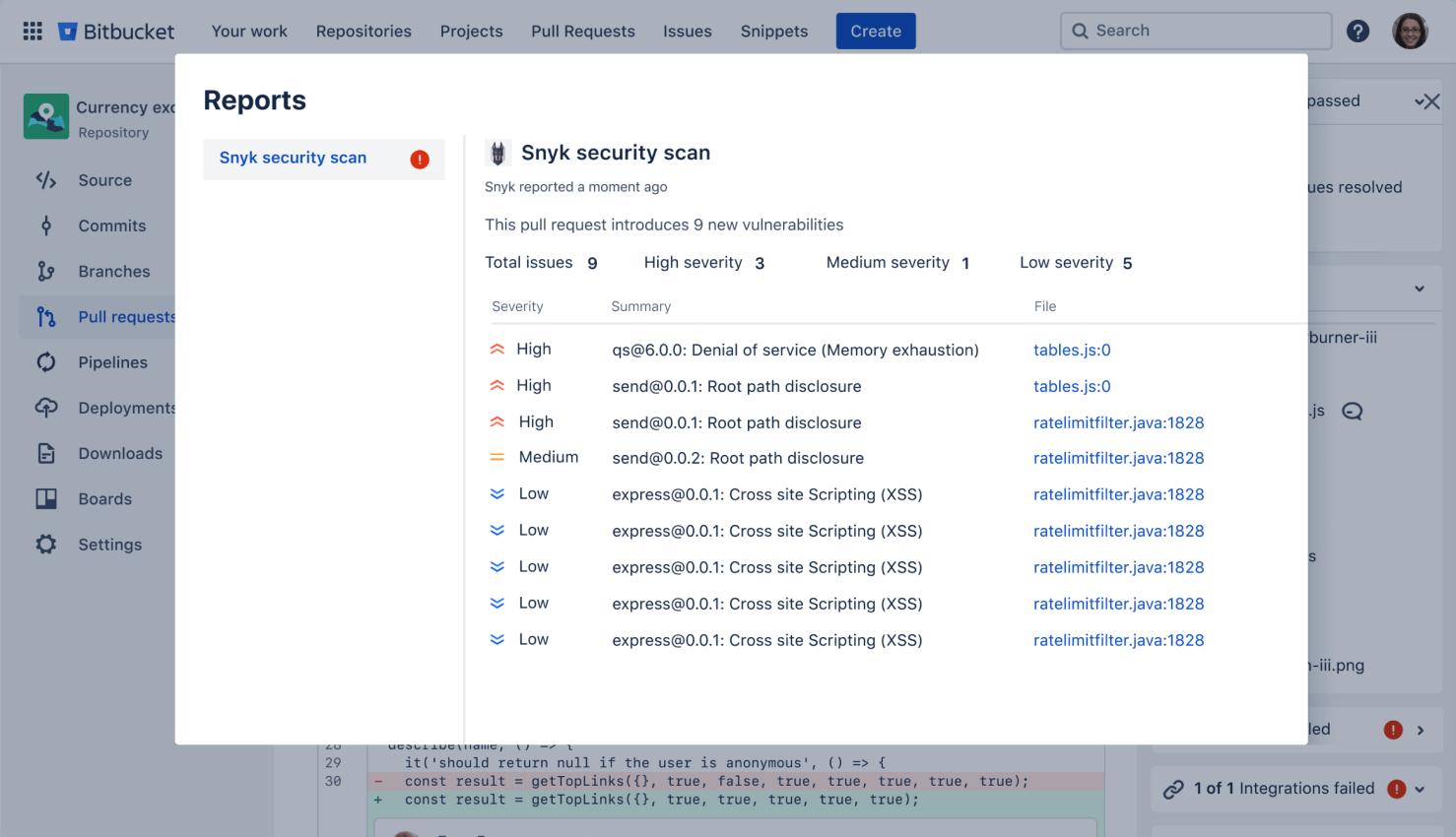 Branch permissions screen