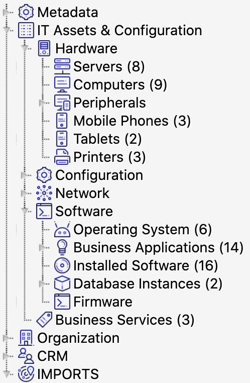 Insight CMDB navigation pane showing the hierarchy of objects going from IT assets to Hardware to Servers for example.