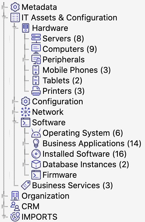 Volet de navigation dans la CMDBInsight montrant la hiérarchie des objets allant des actifs informatiques au matériel et aux serveurs par exemple.