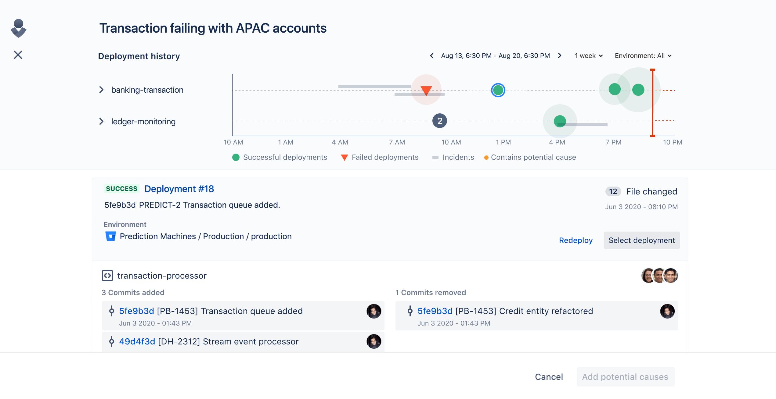 Transaction failing metrics