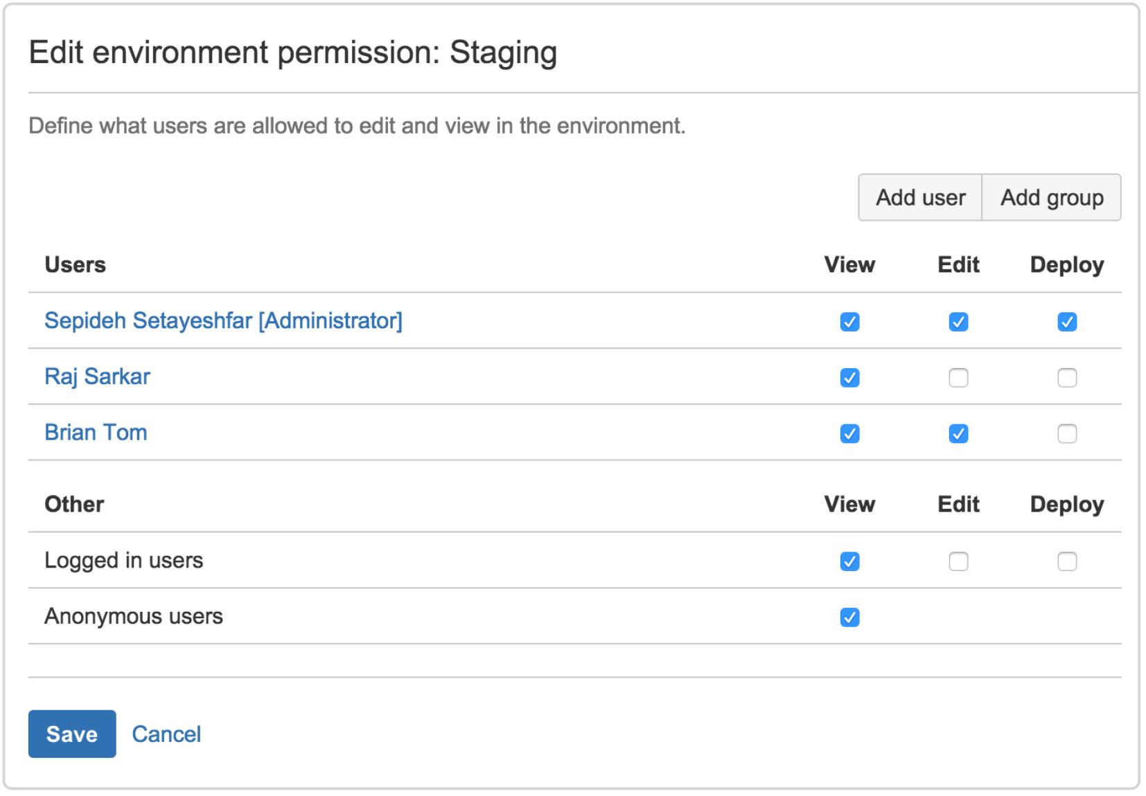Edit environment permission: staging screenshot