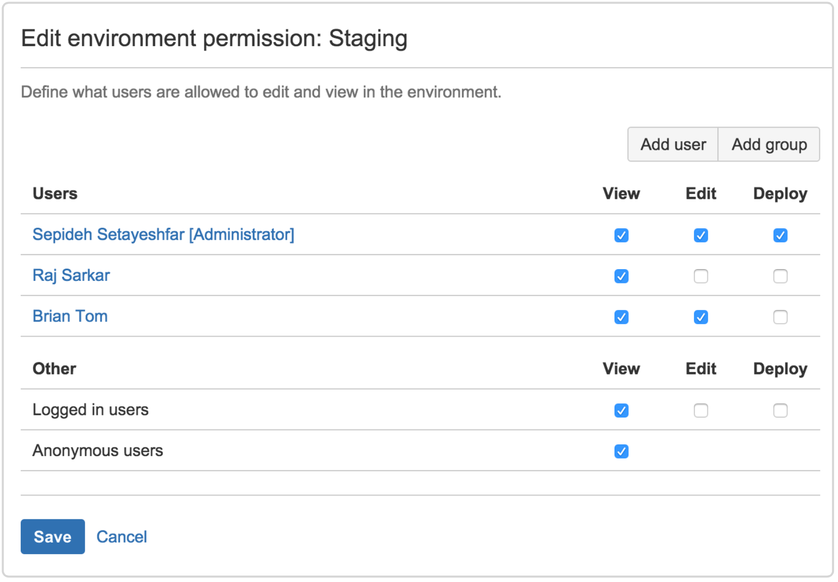 Edit environment permission: staging screenshot