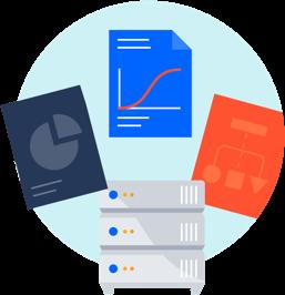 Data Center met documenten