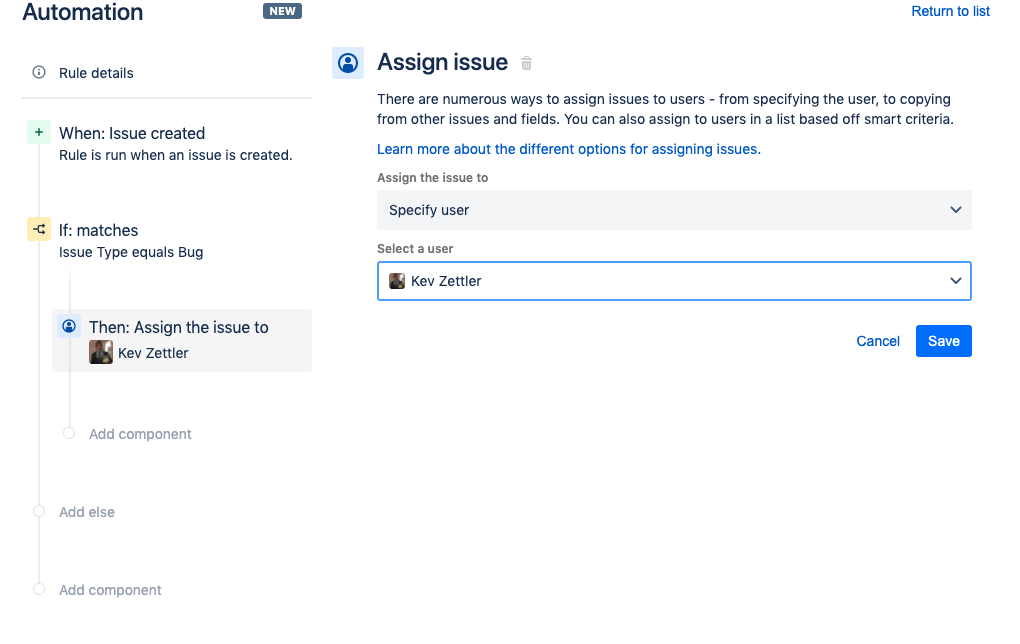 From the Assign issue prompt, select a user to assign bugs to. Click the Save button.