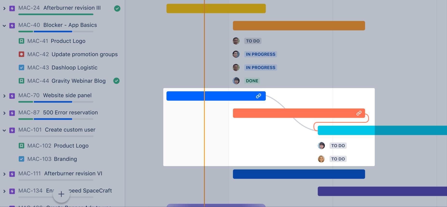 Zależności w podstawowym harmonogramie — zrzut ekranu