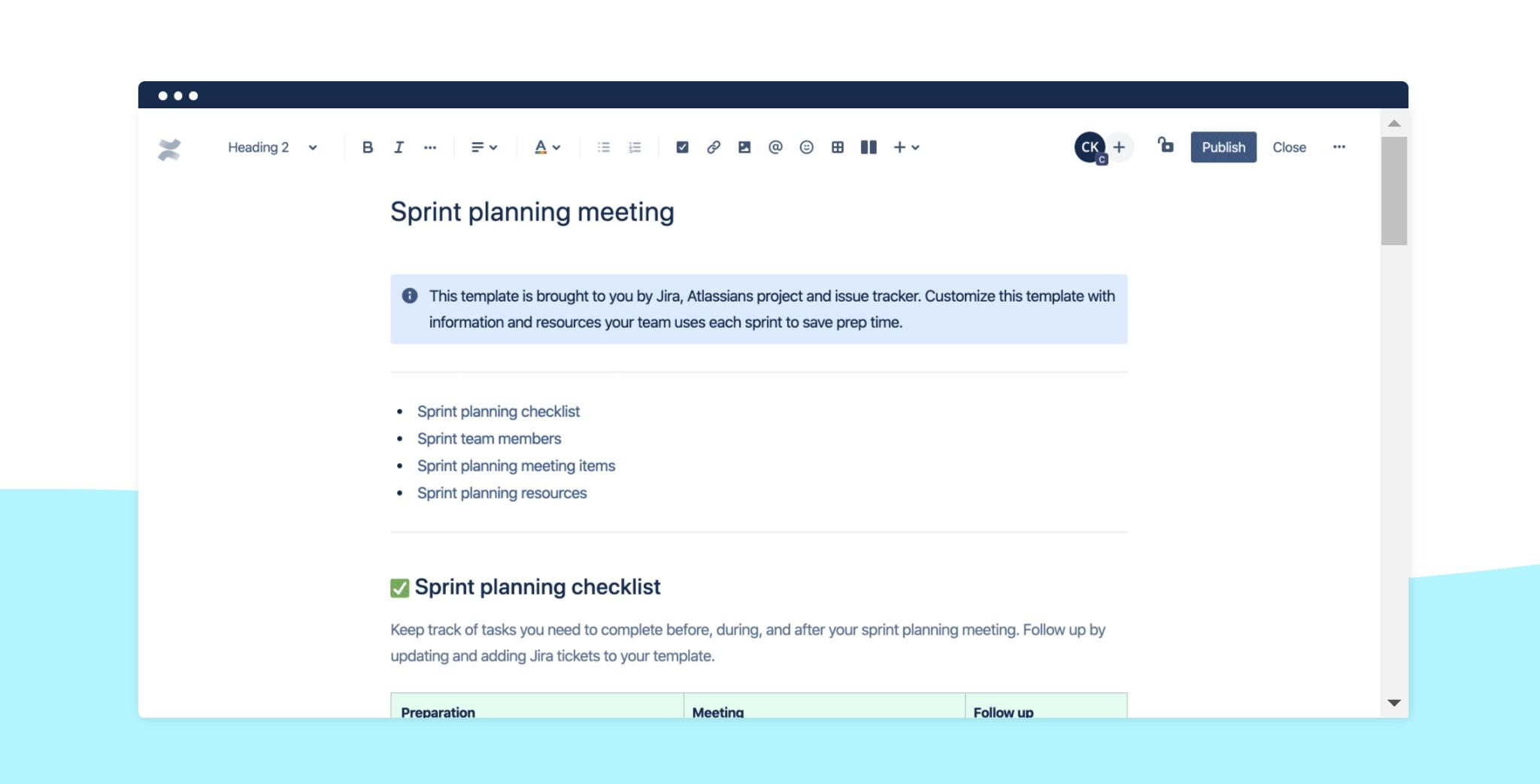 Confluence sprint planning screenshot