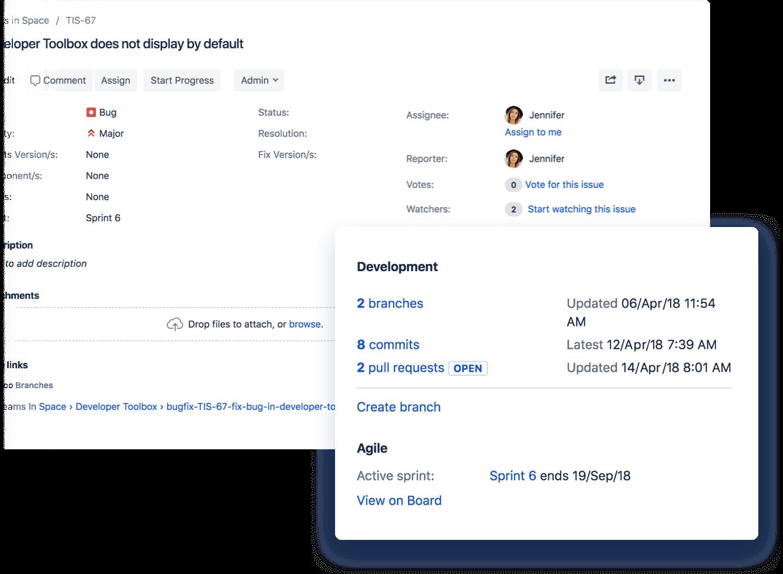 Tíquete do Jira com modal pop-up de integração com o Bitbucket