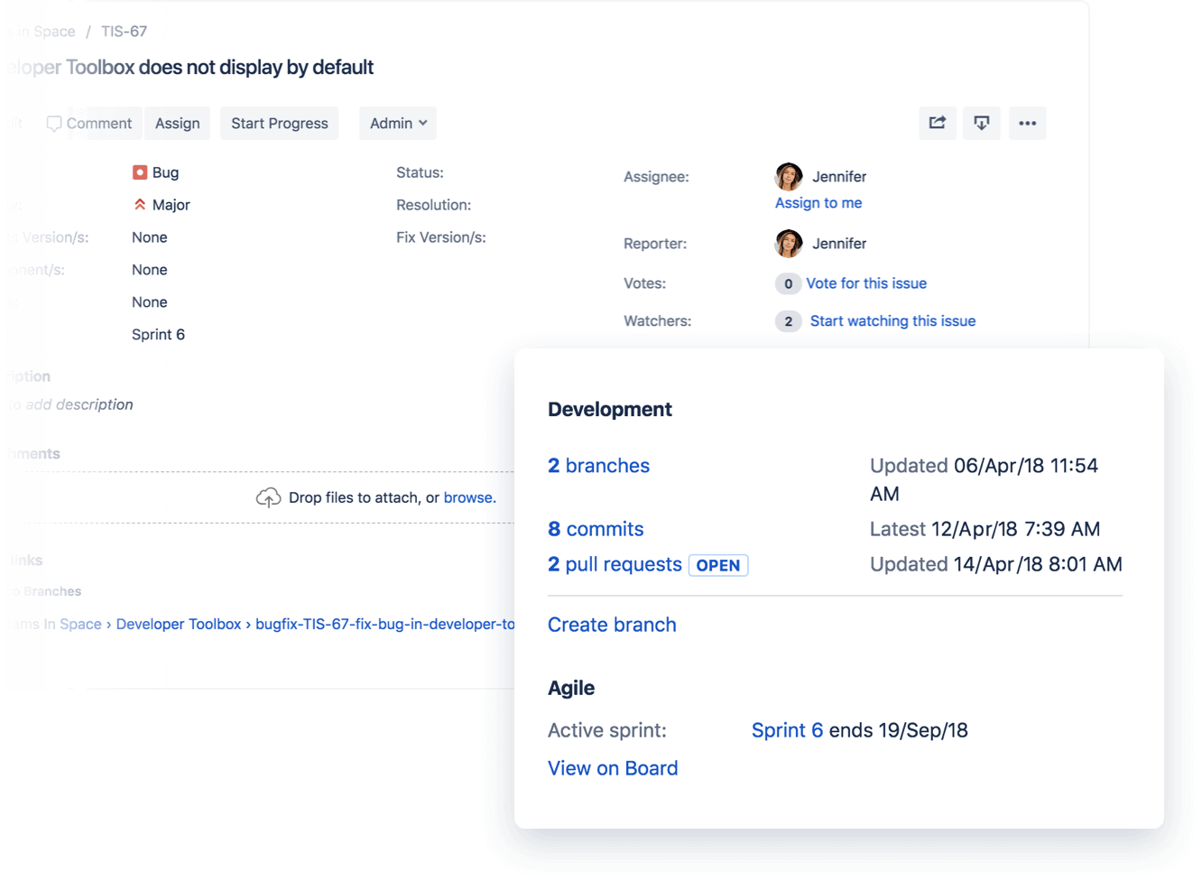 Jira ticket with popup modal of integration with Bitbucket