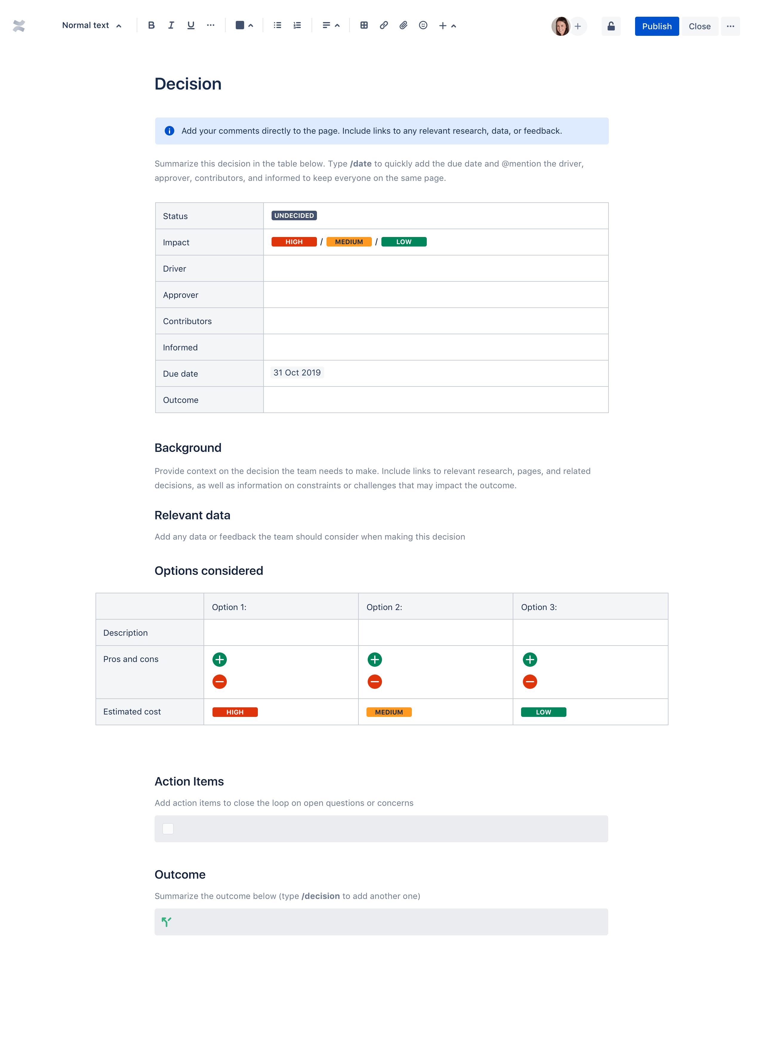 Decision log template