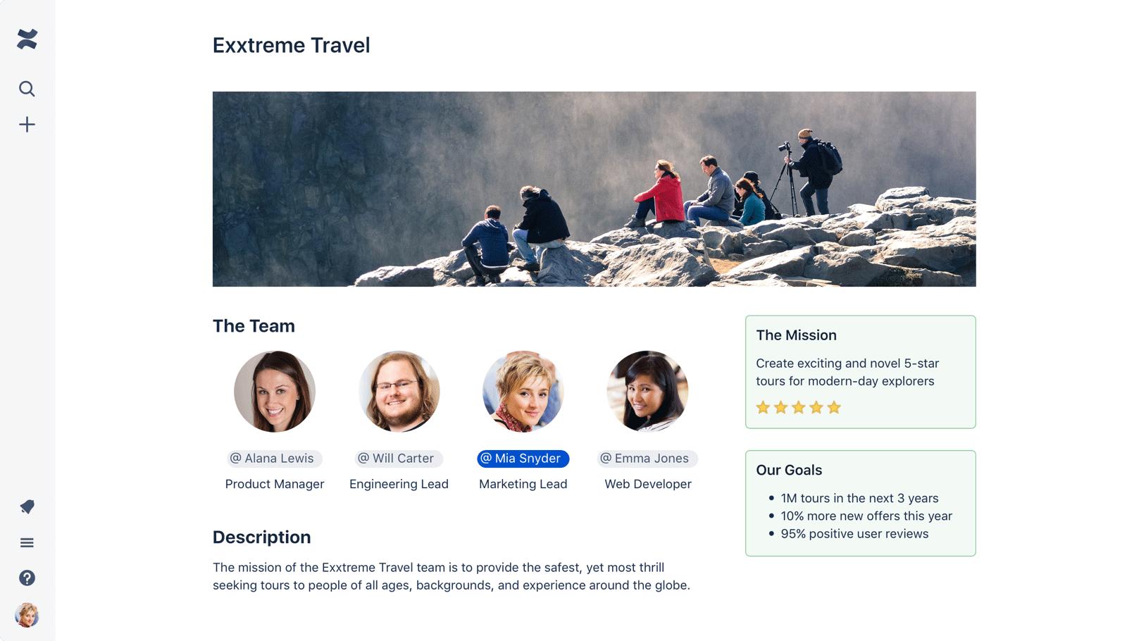 Captura de pantalla de la página de Confluence con muchas imágenes