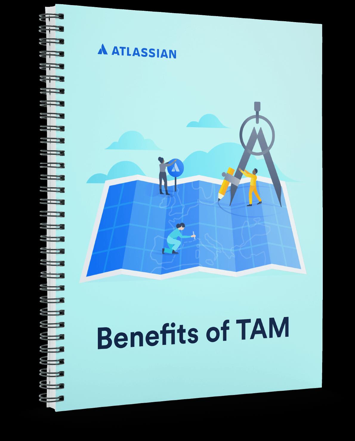 """Titelseite eines Notizbuchs: """"Benefits of TAM"""" (Vorteile eines TAM)"""