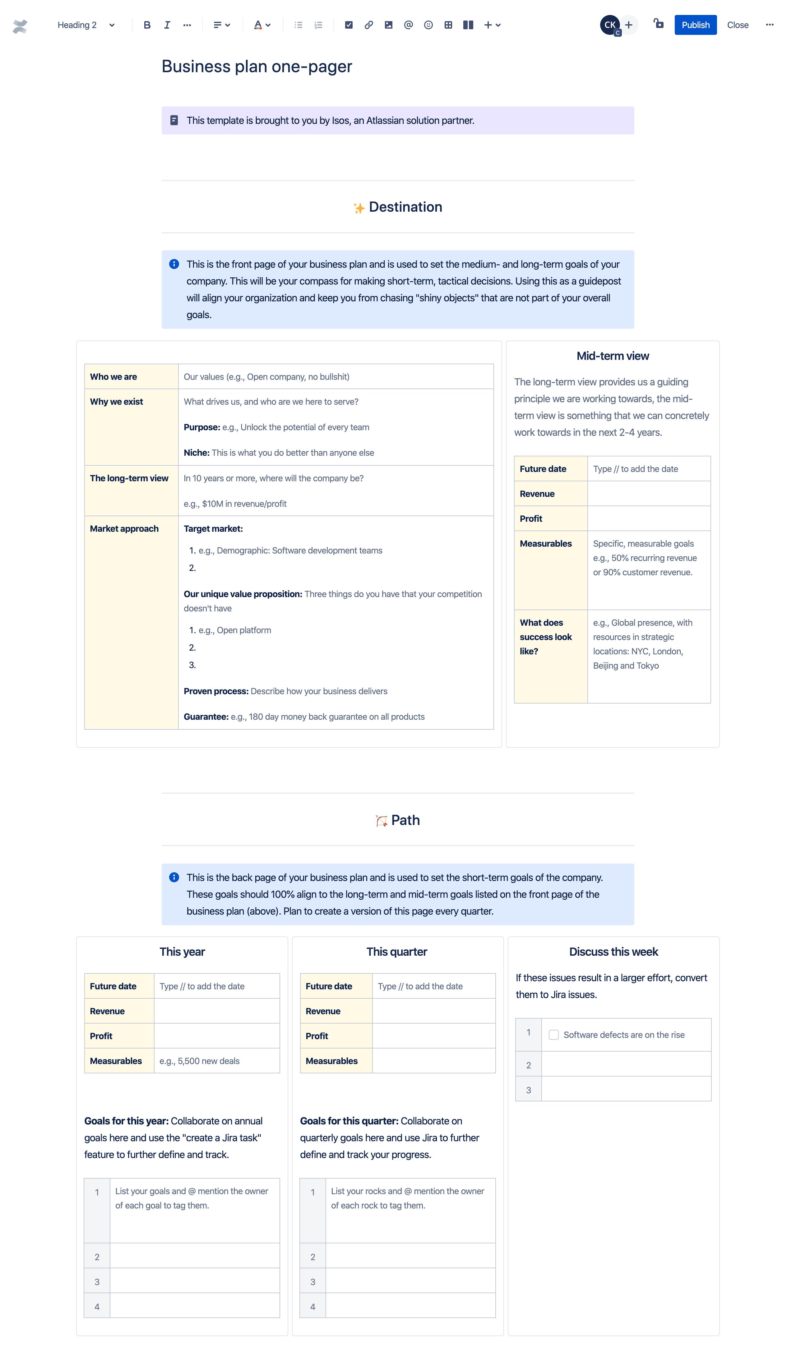 业务计划单页模板