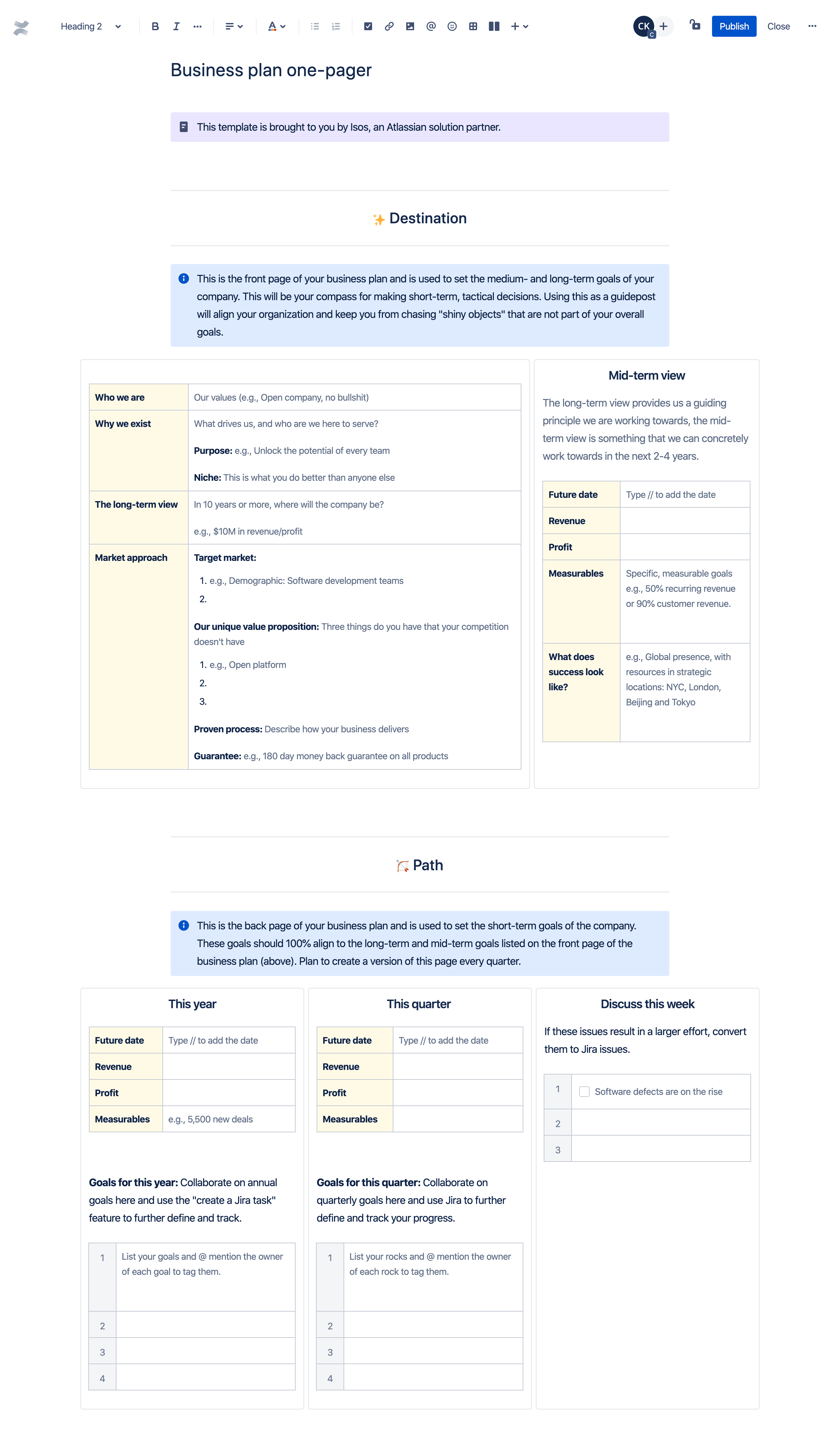 Business plan one-pager template
