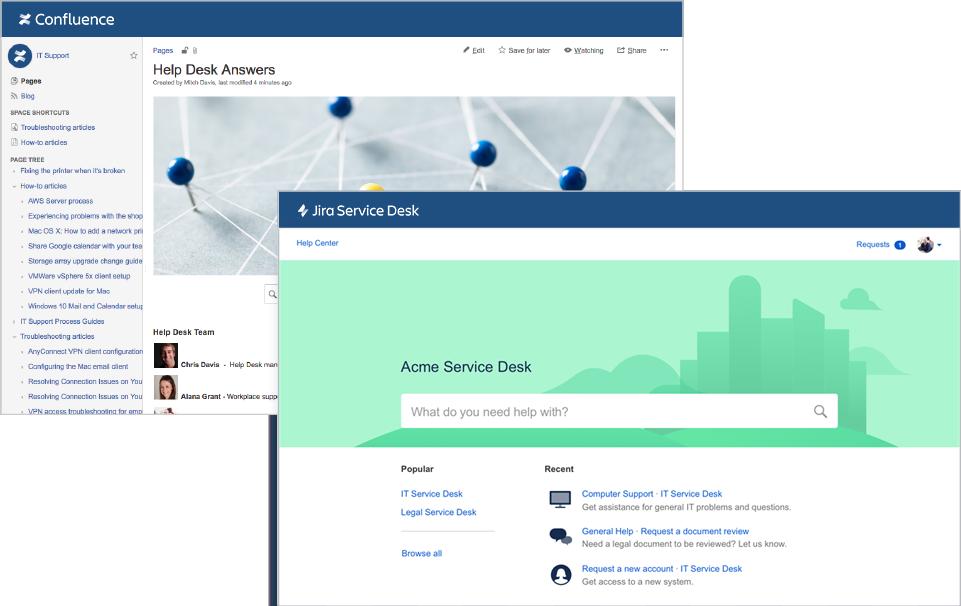 Capturas de tela do Confluence e Jira Service Desk