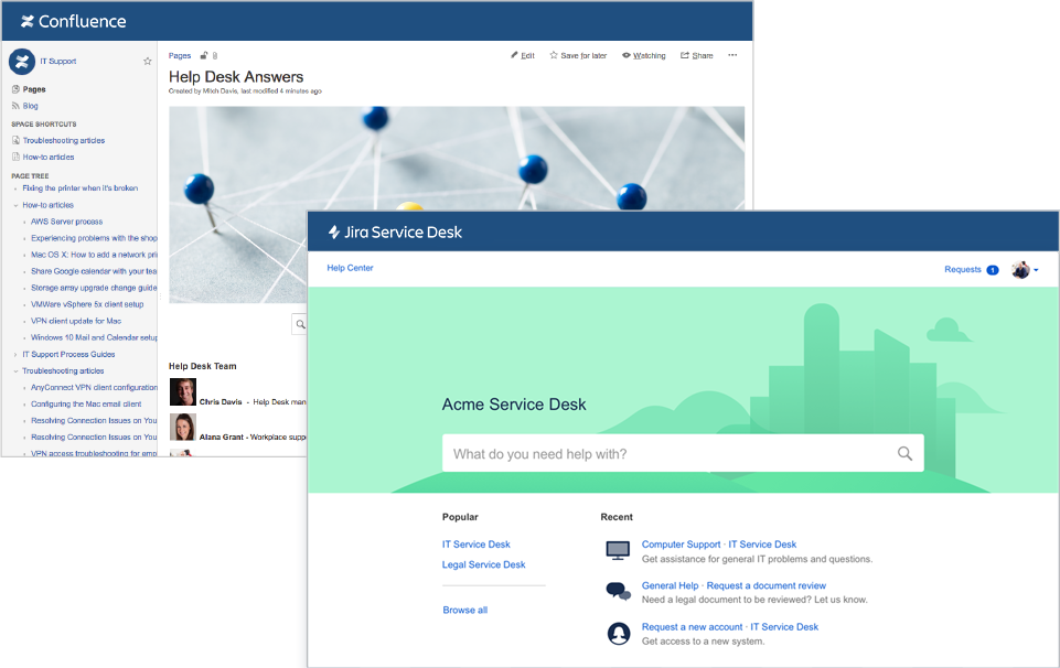 Снимки экрана Confluence и Jira Service Desk