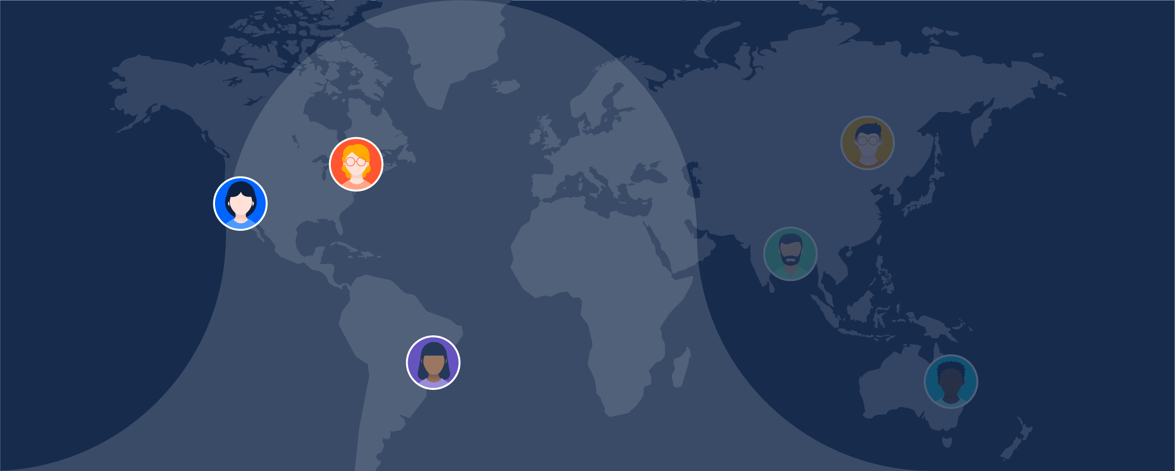 World map with agents highlighted