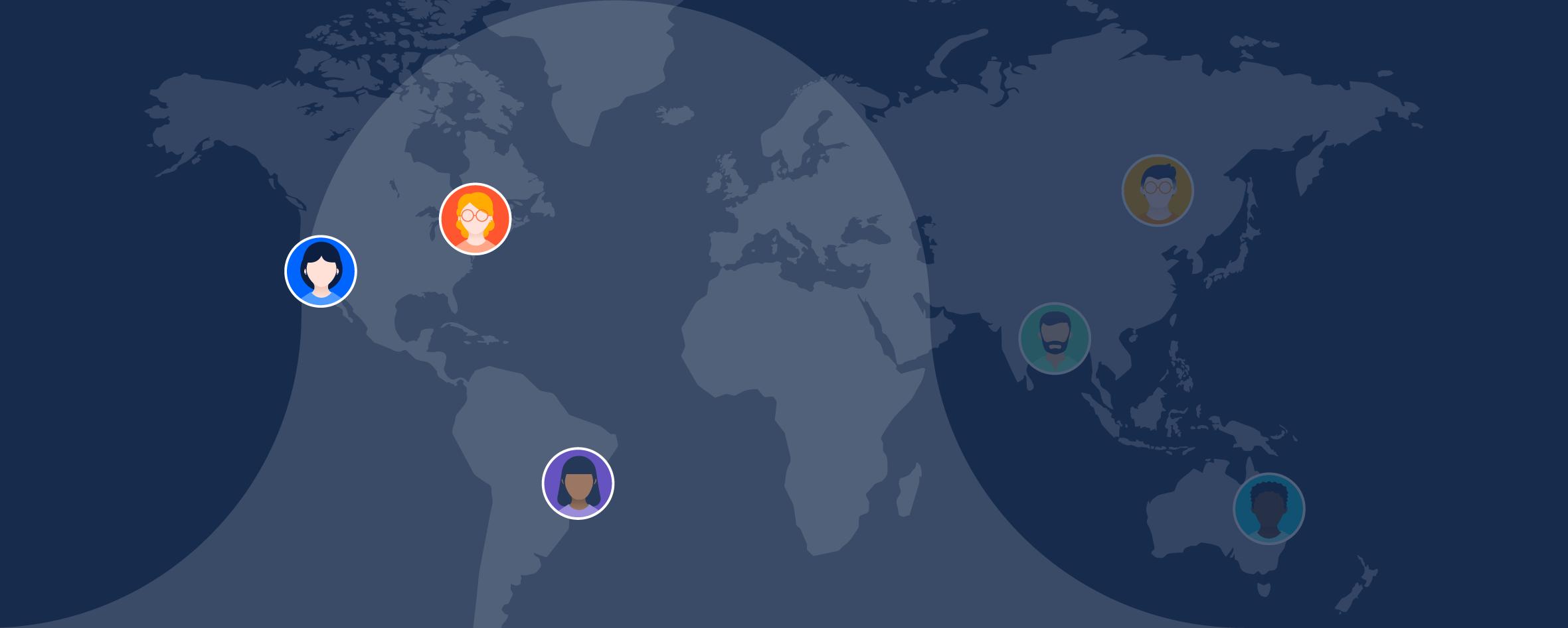 Carte du monde avec des agents mis en évidence