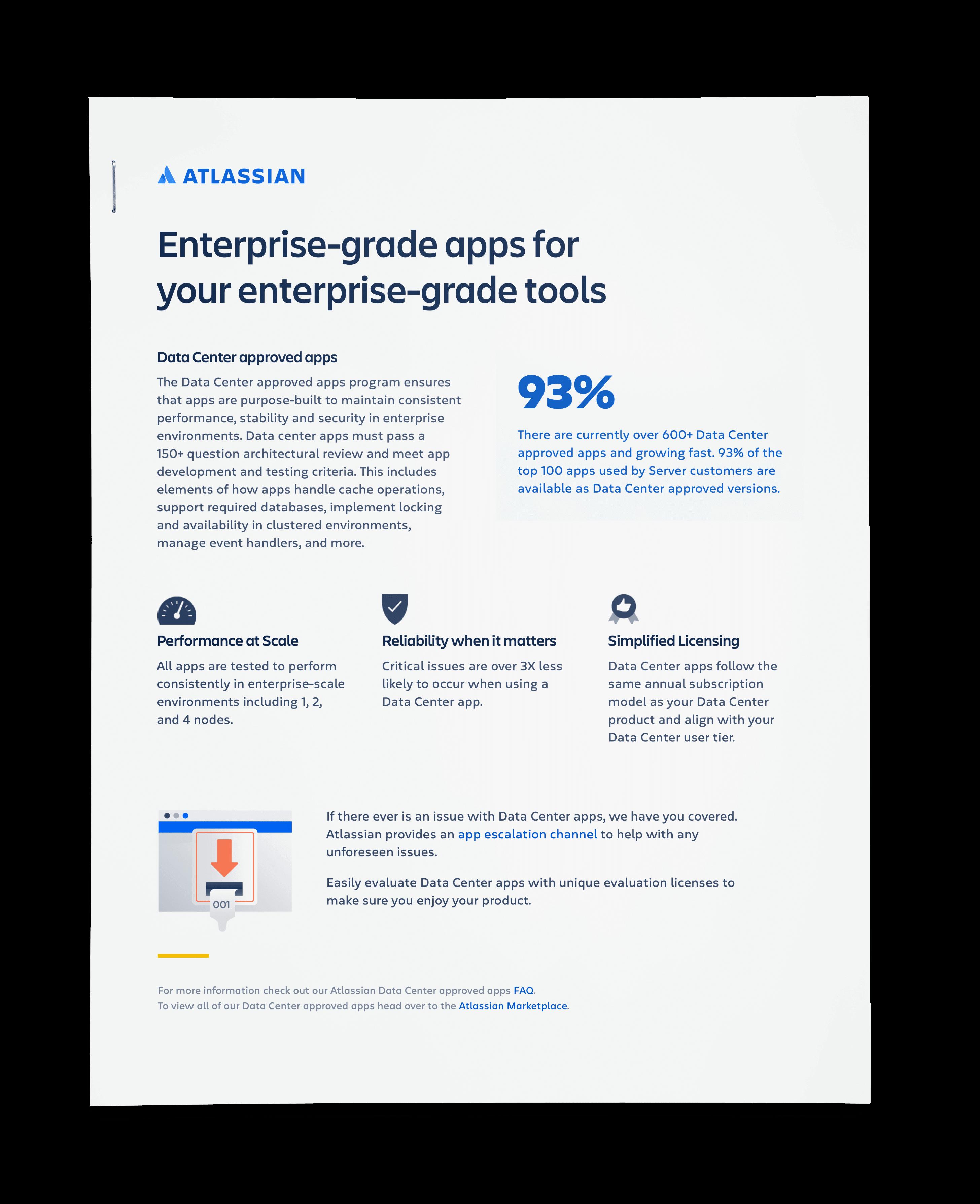 Enterprise-grade apps for your enterprise-grade tools one pager