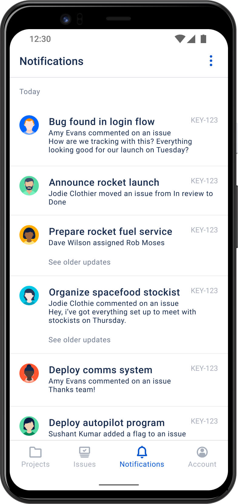 Notificações no aplicativo móvel Jira Cloud