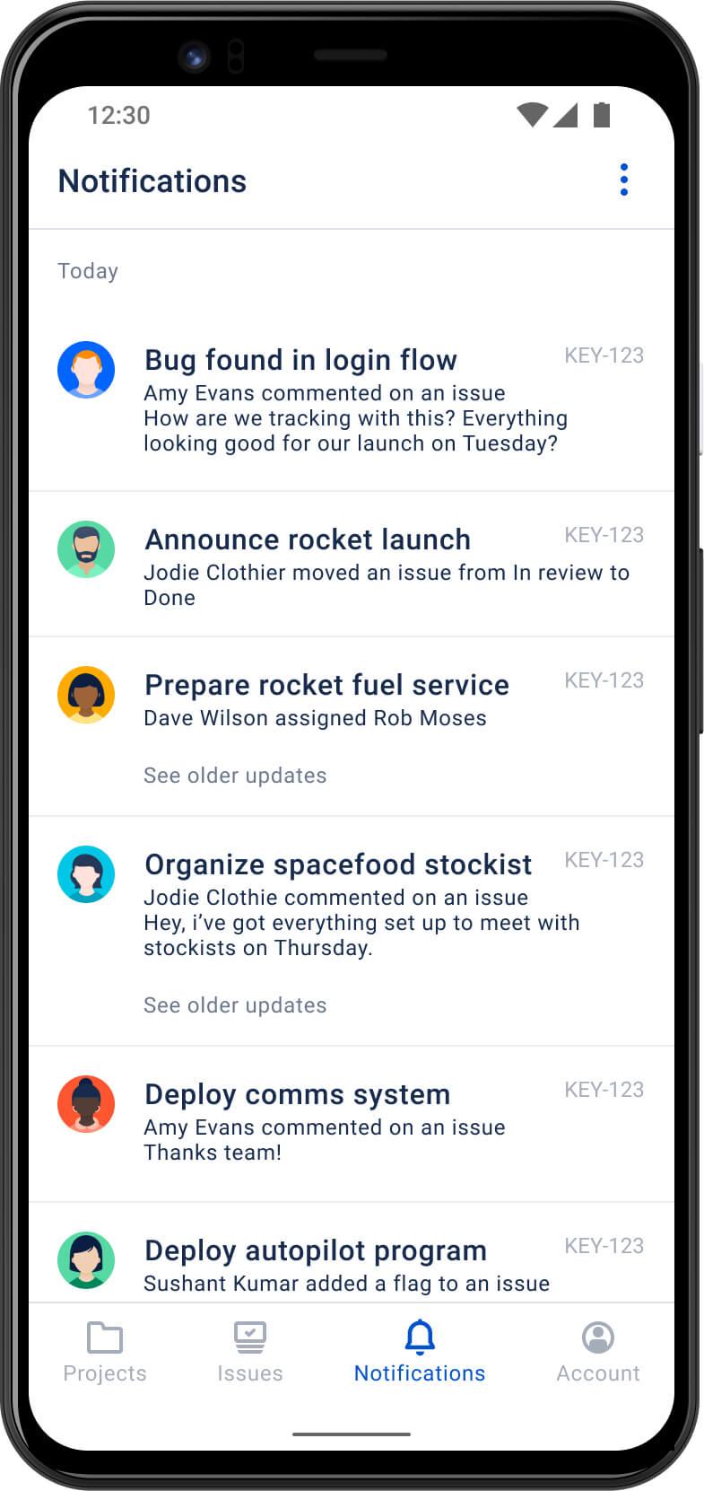 Раздел Notifications (Уведомления) в мобильном приложении Jira Cloud