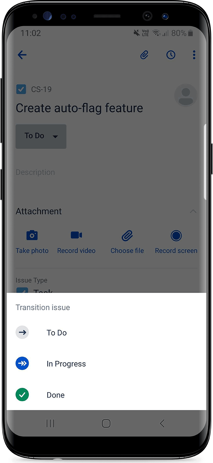 Menu a discesa dell'app Jira Cloud per dispositivi mobili esteso