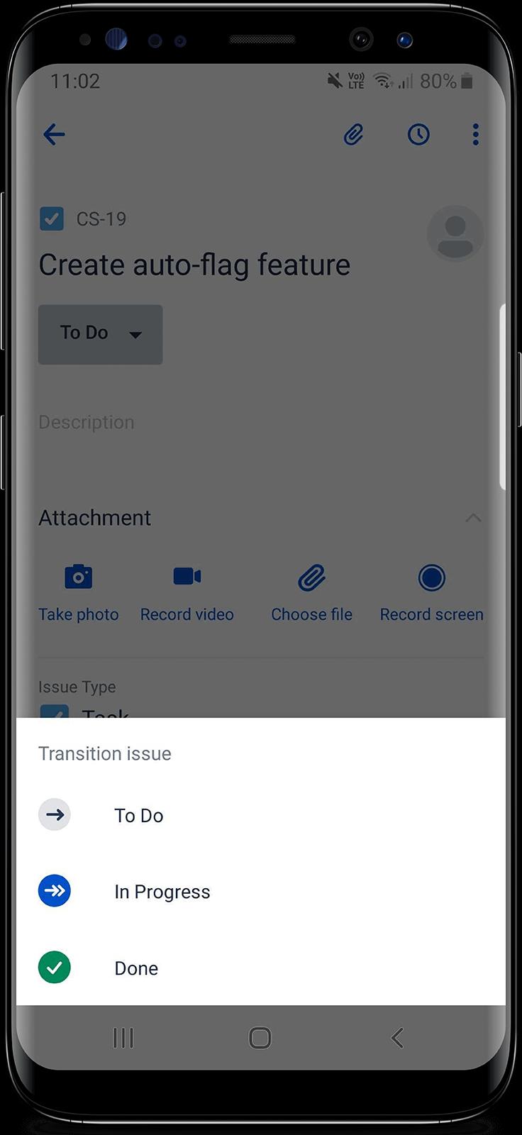 Jira Cloud 모바일 앱에서 펼쳐진 드롭다운
