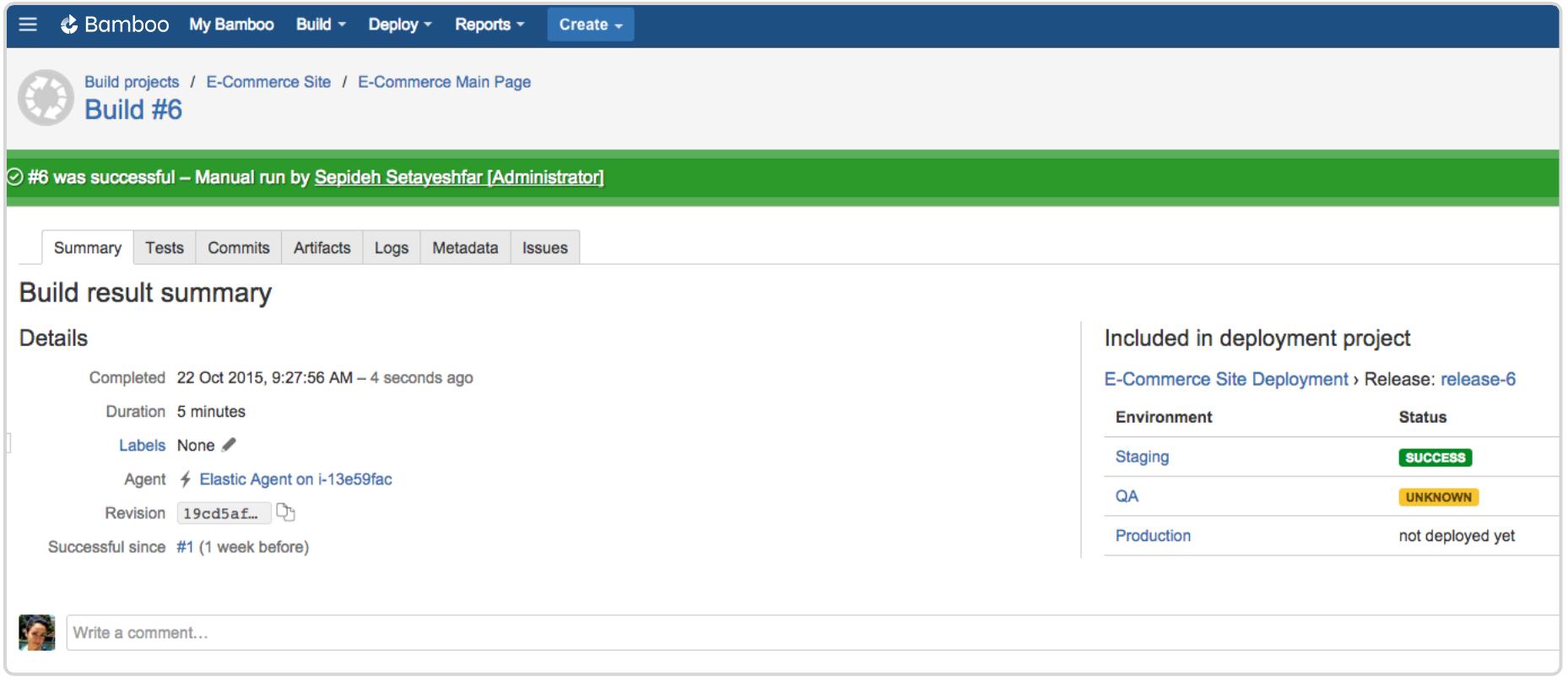Bamboo build result summary screenshot