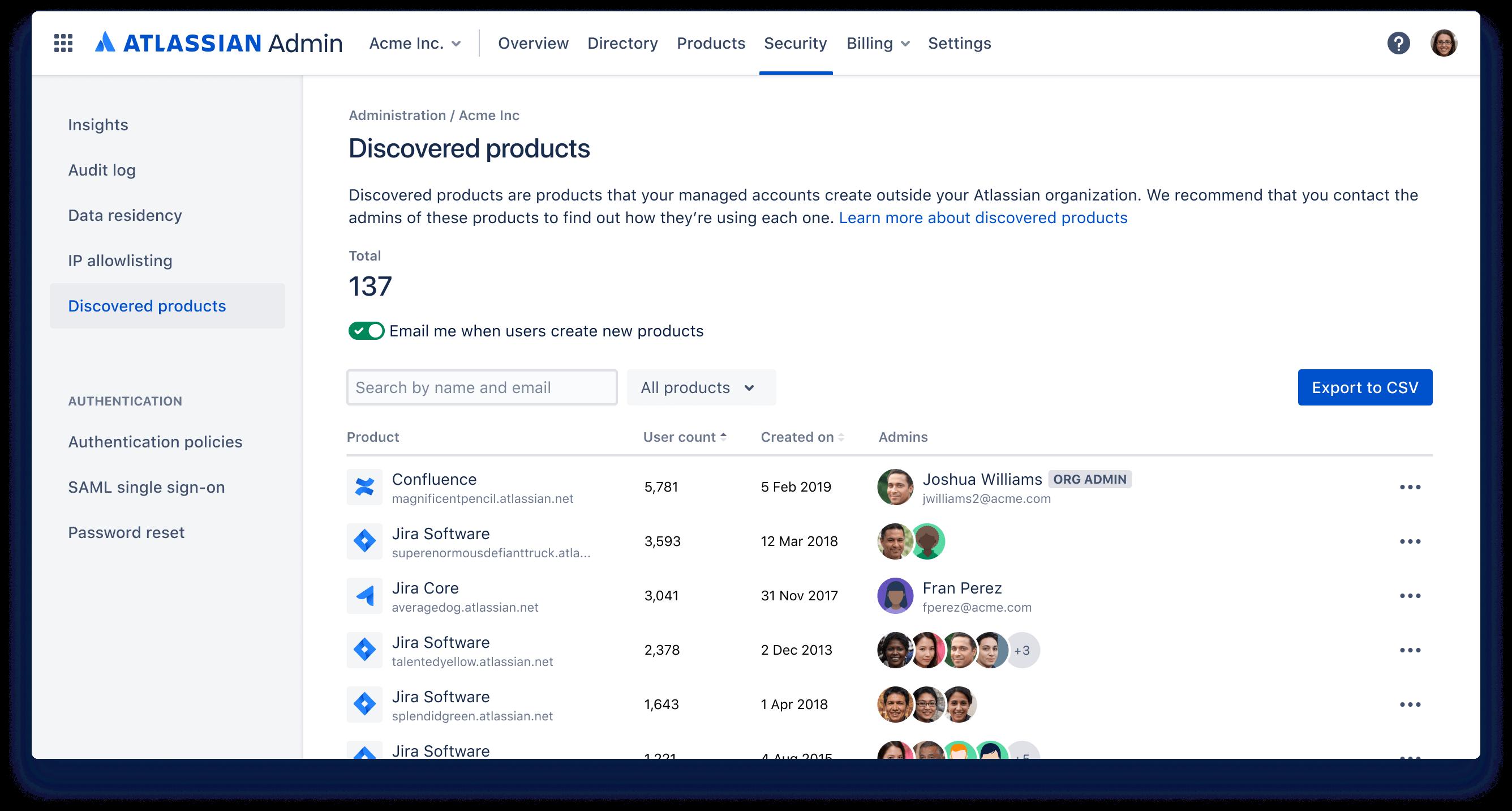 Captura de tela da descoberta automática de produtos