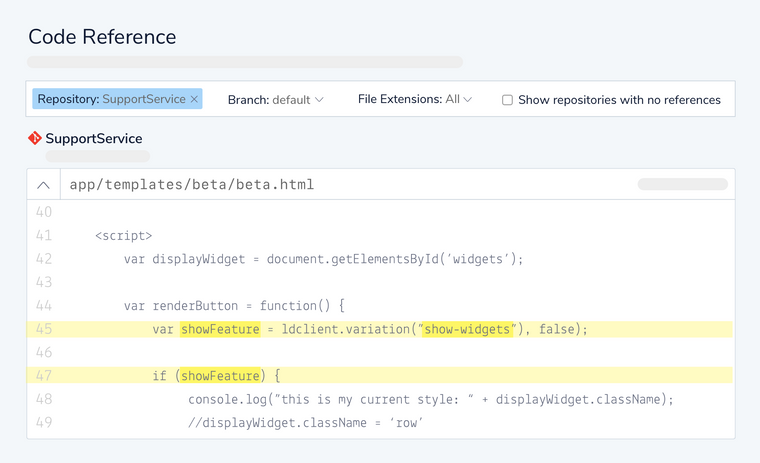 Launch Darkly code references highlight all your feature flags