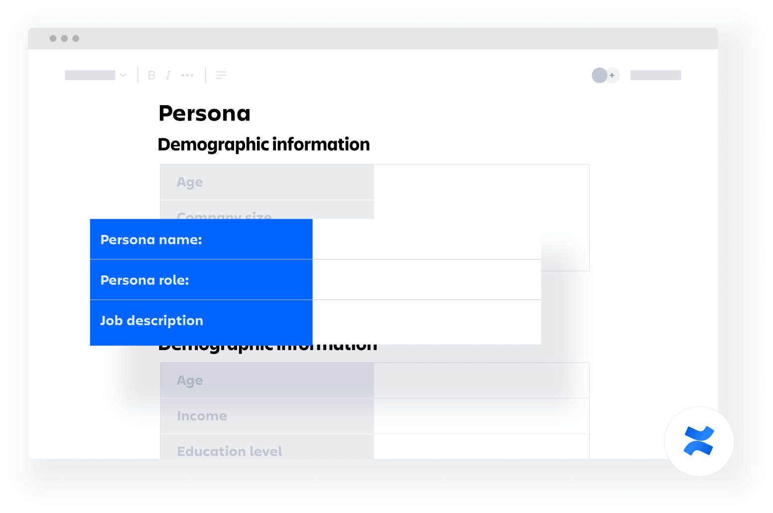 persona confluence template
