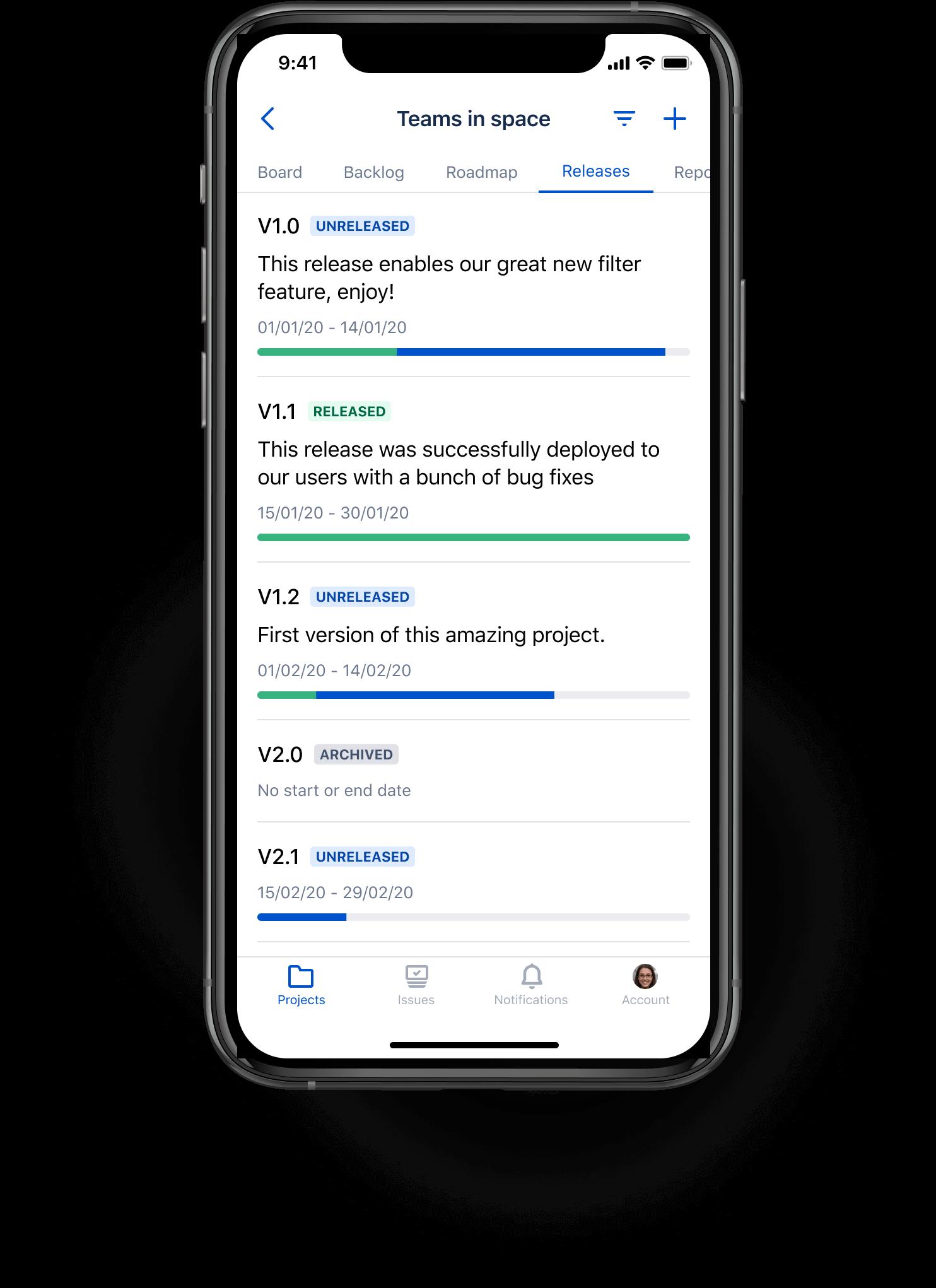 Lançamentos no aplicativo móvel Jira Cloud