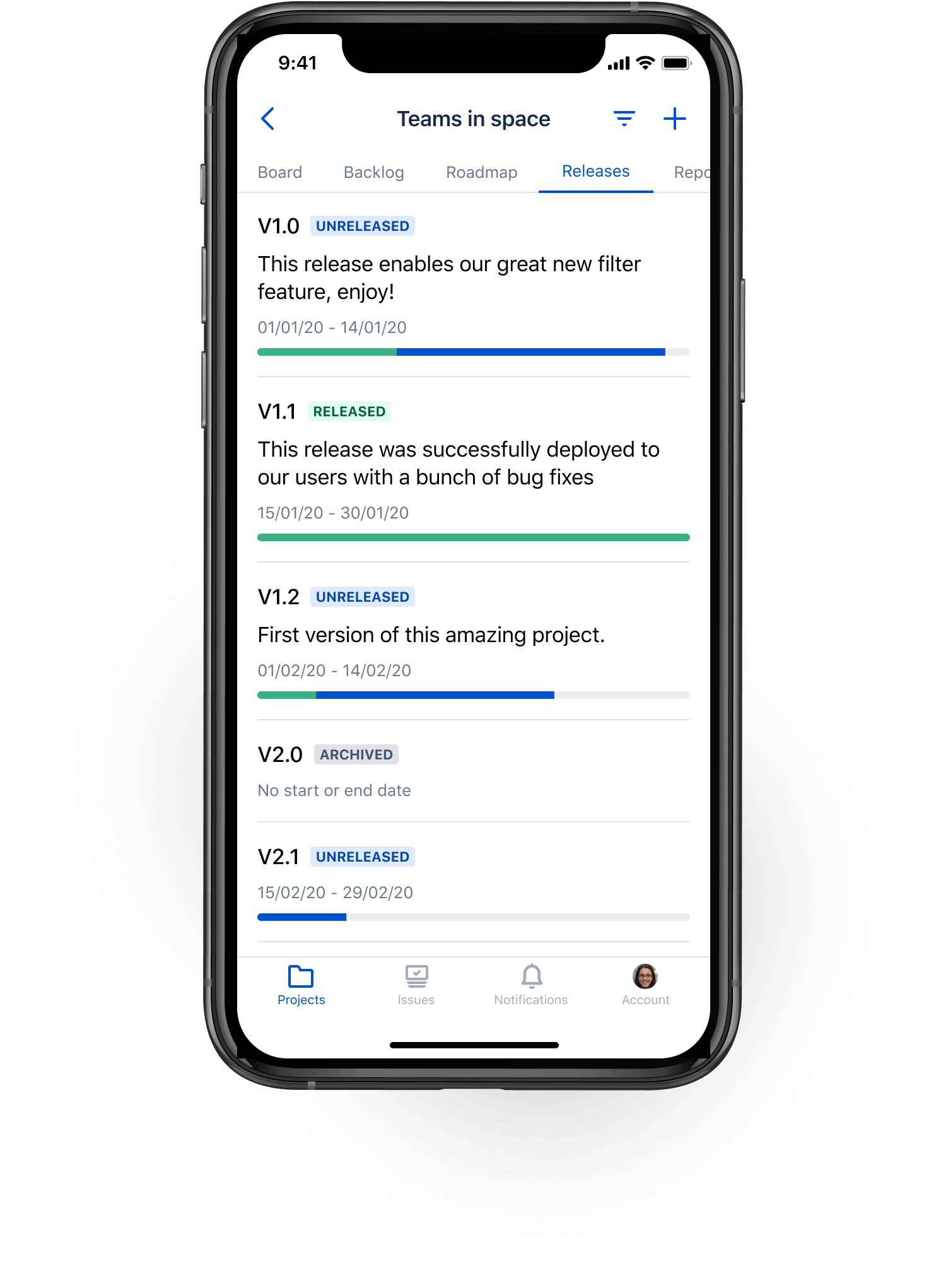 Вкладка Releases (Релизы) в мобильном приложении Jira Cloud