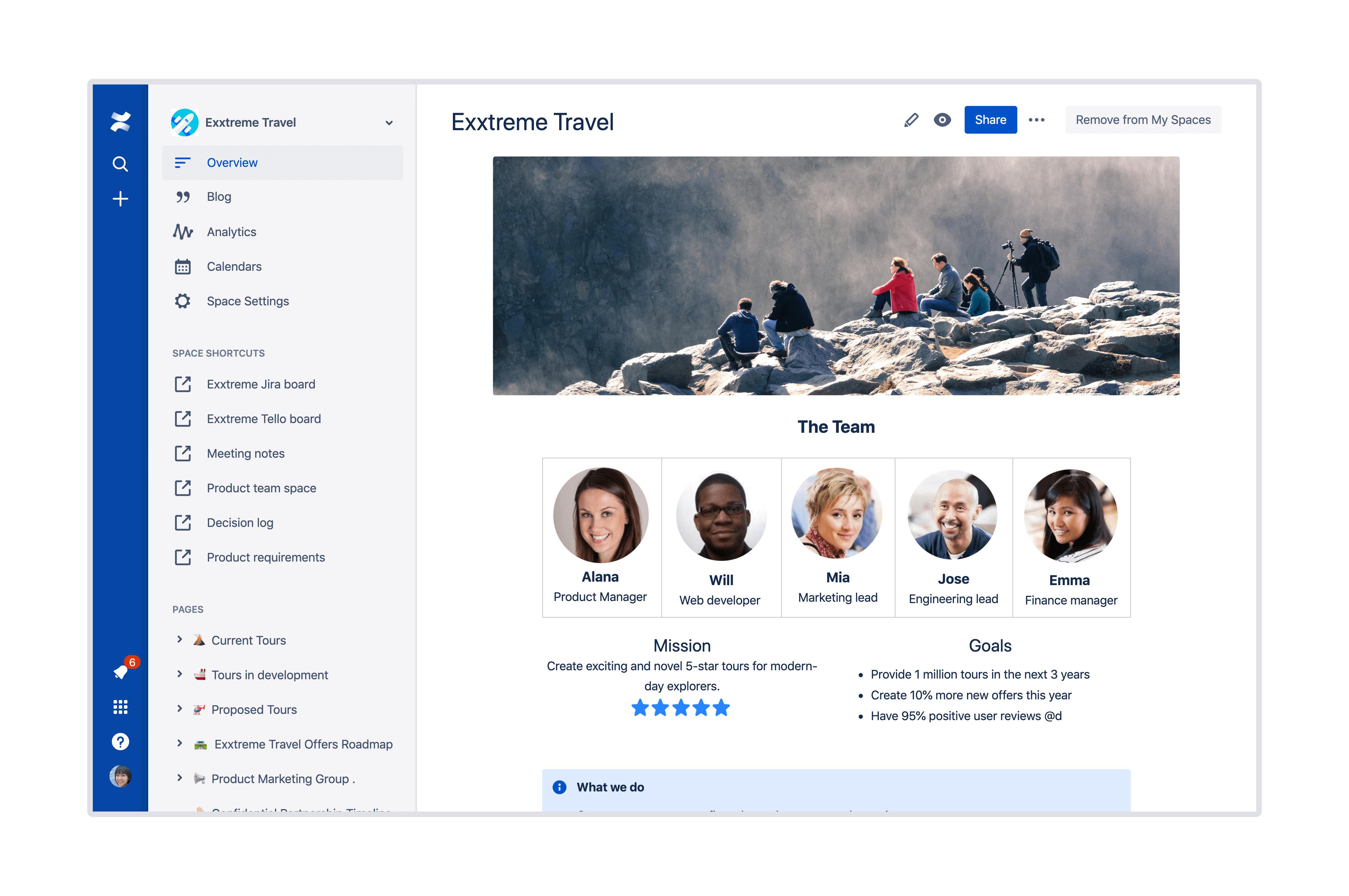 Capture d'écran des espaces et pages illimités