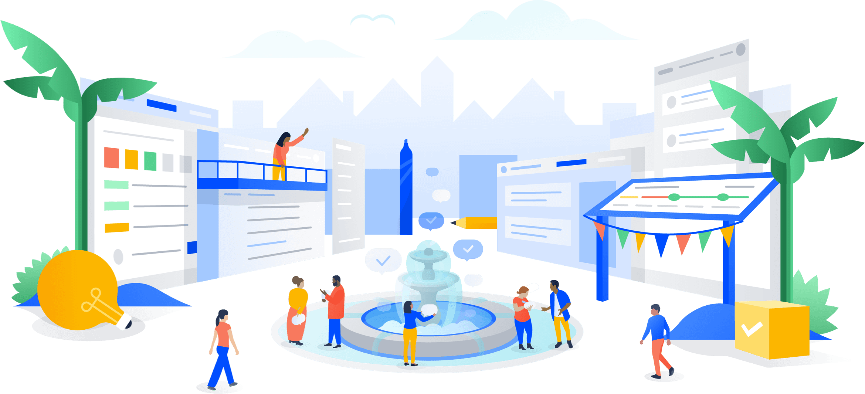 Meeple riuniti intorno a una fontana