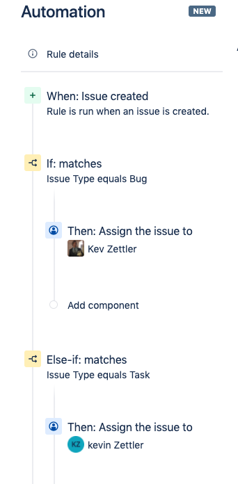 Repeat the steps to add an action to the Else-if condition. The example below illustrates how to create an additional action that assigns the issue to another user.