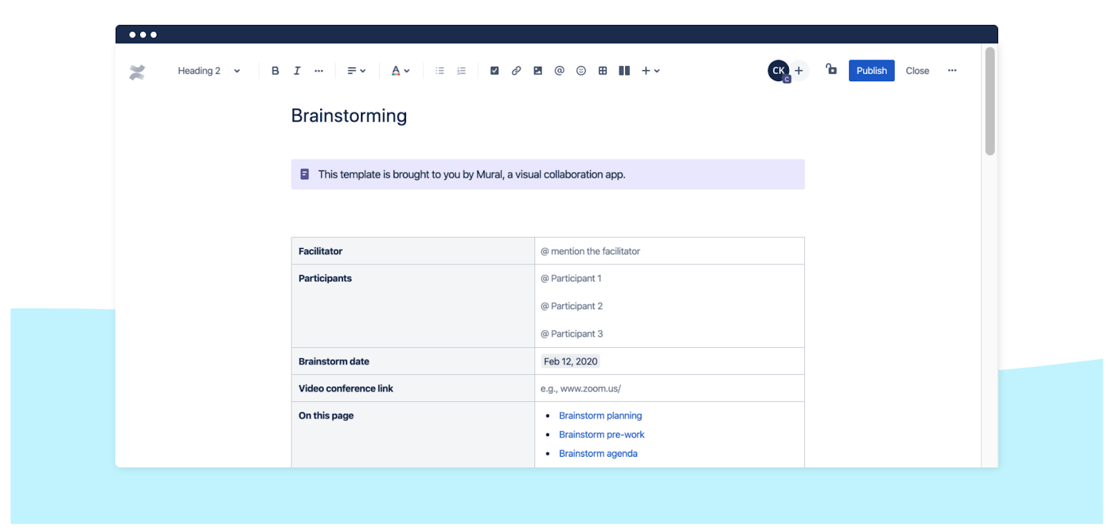 Confluence brainstorming template