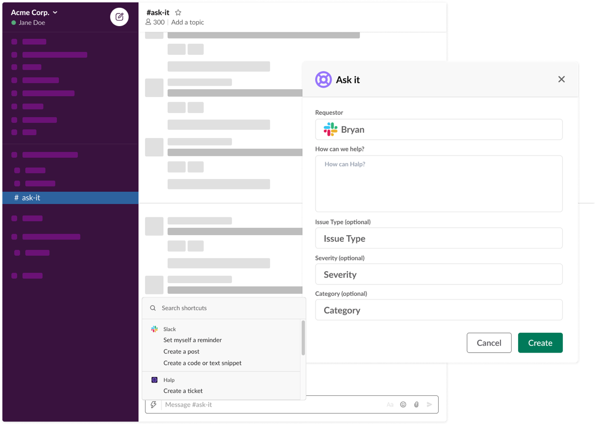 Customizable forms in Slack