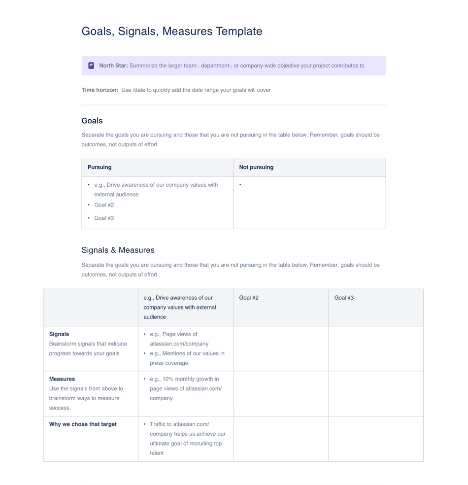 Goals Signals Measures template