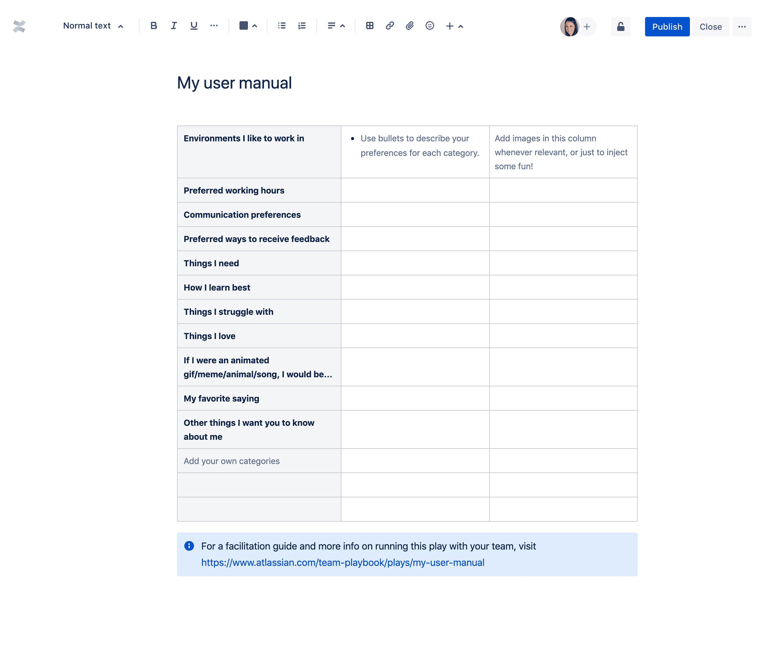 Moje informacje o pracownikach — szablon