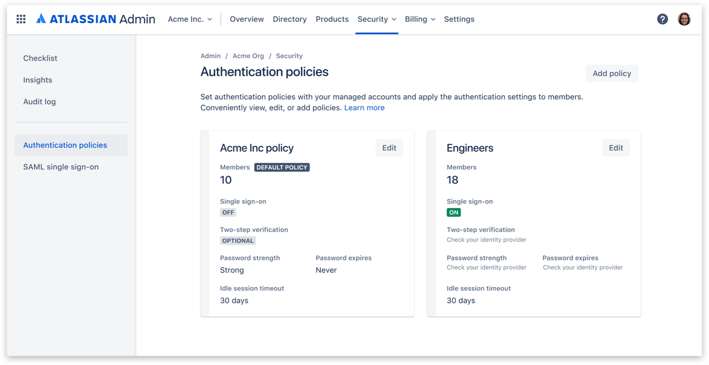 Authentication policies screenshot