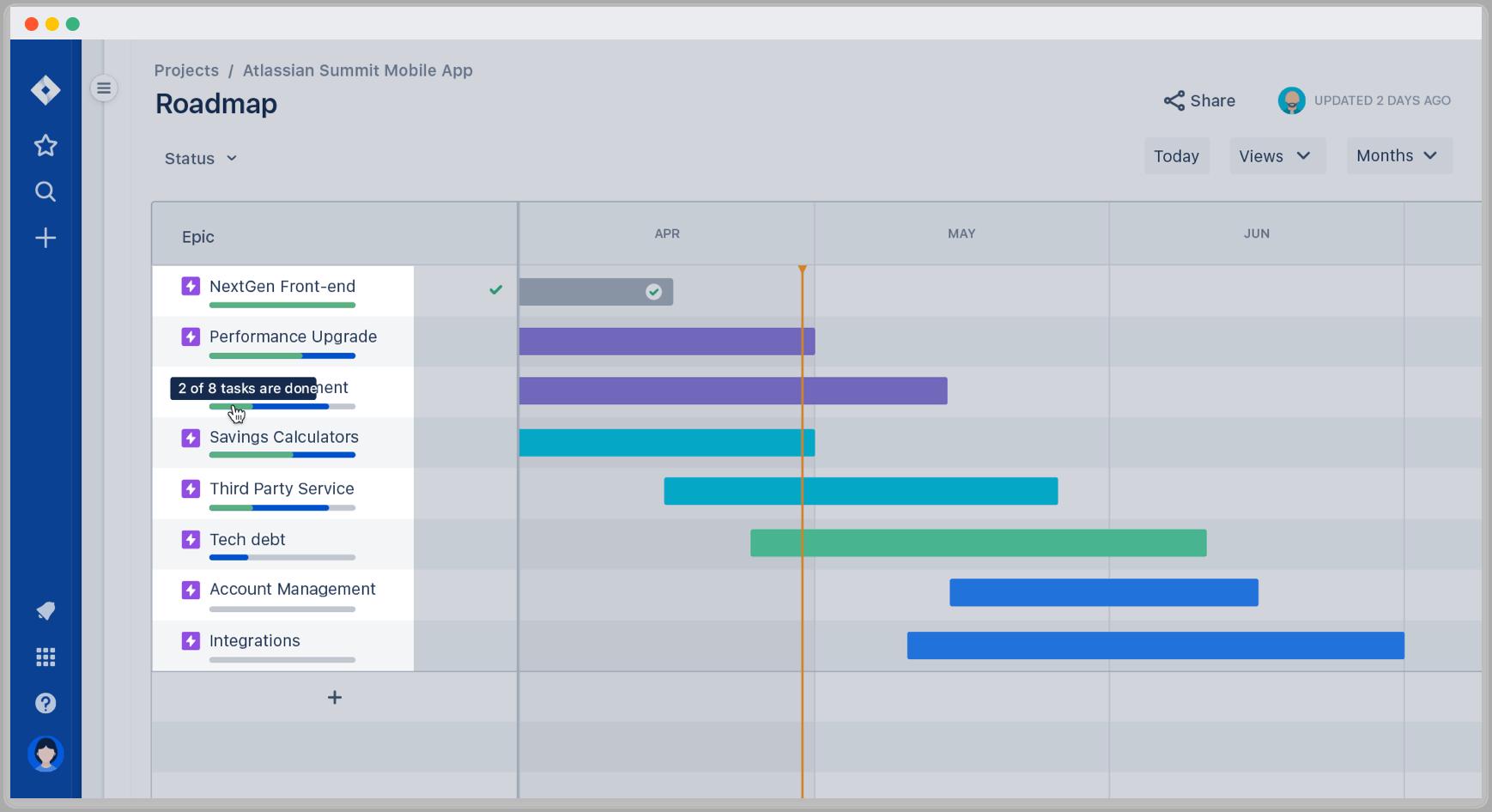 在 Jira Software 路线图上跟踪进度