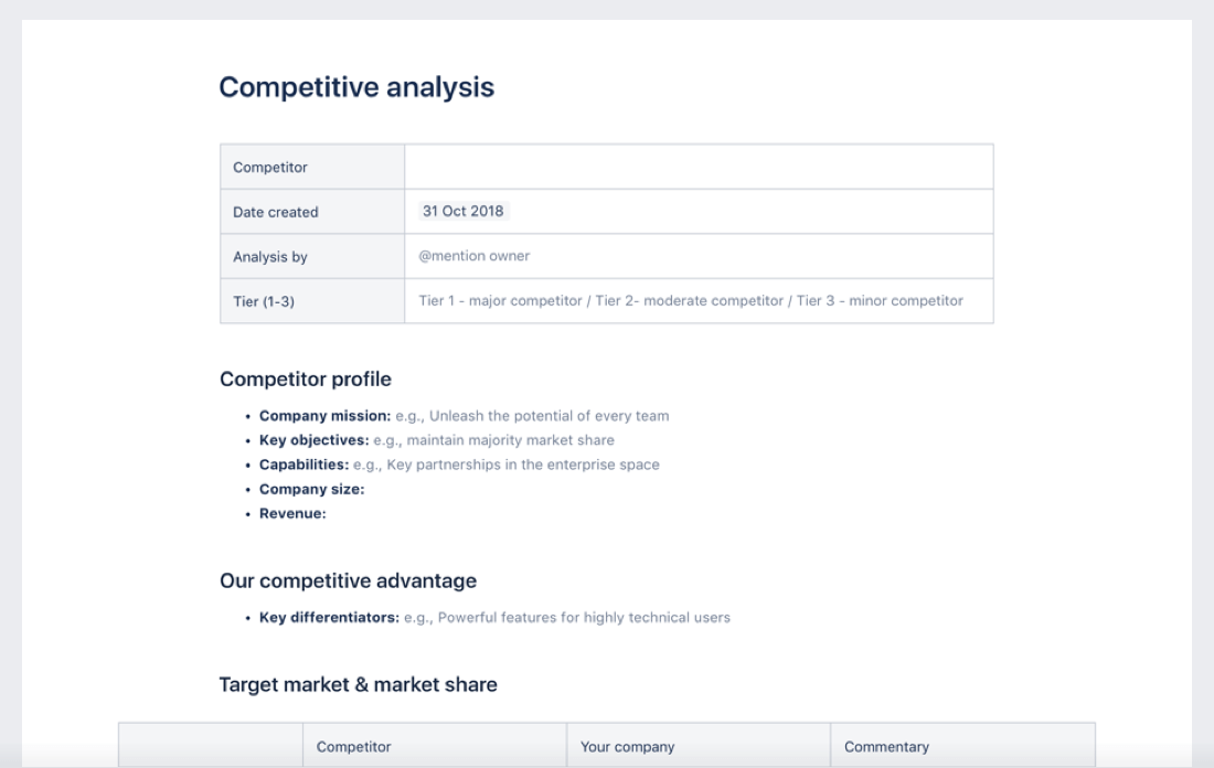 Competitive analysis diagram