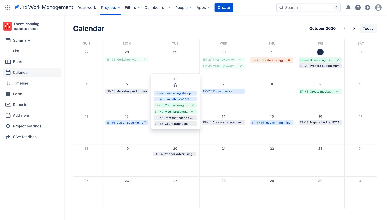 Calendar view on Jira Work Management