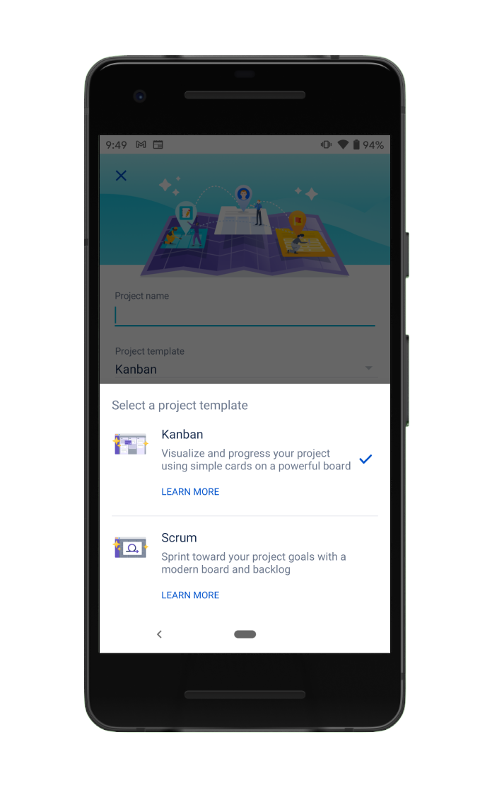 Projektvorlage für die mobile Jira Cloud-App