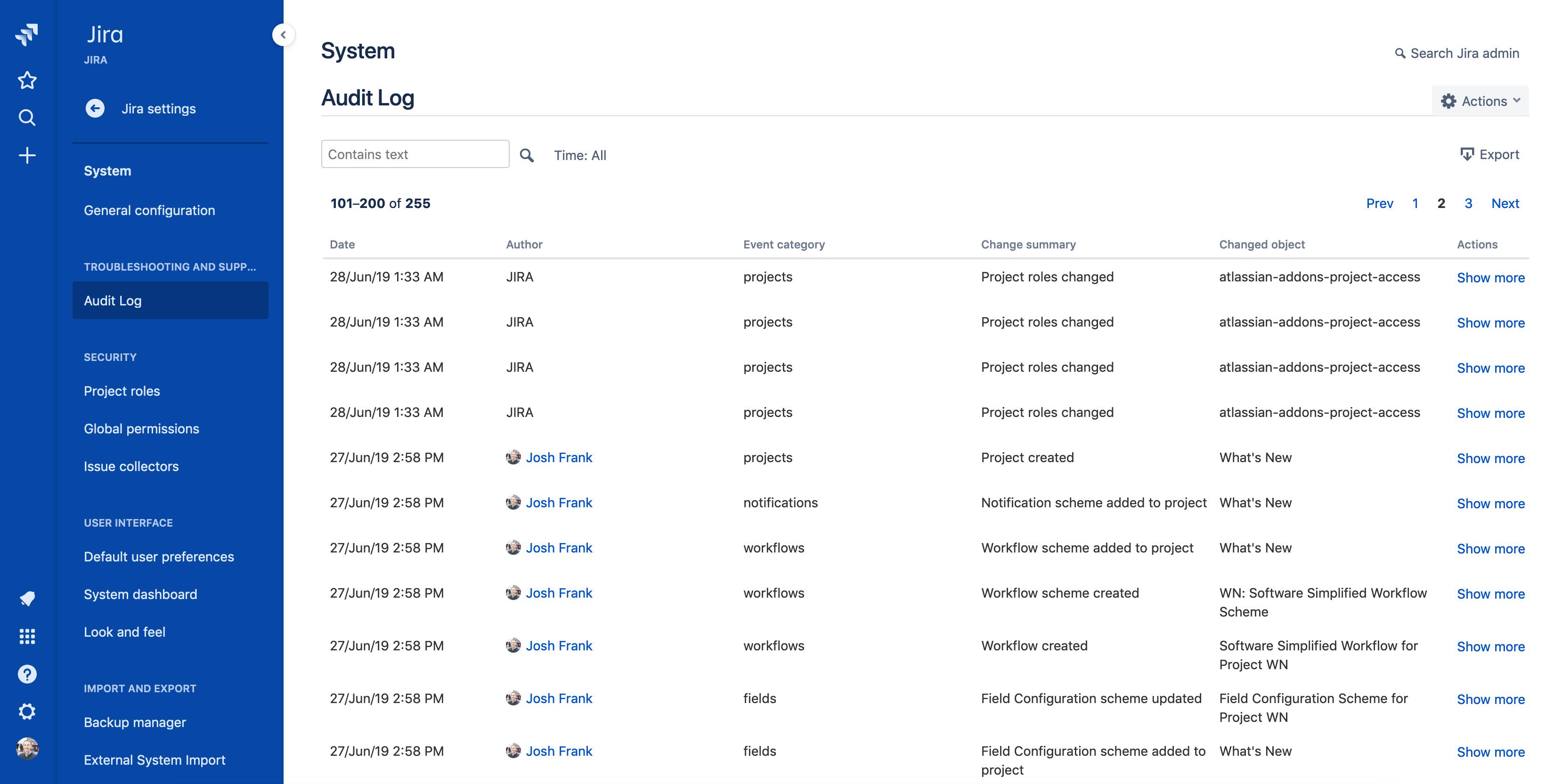 Screenshot di Audit log