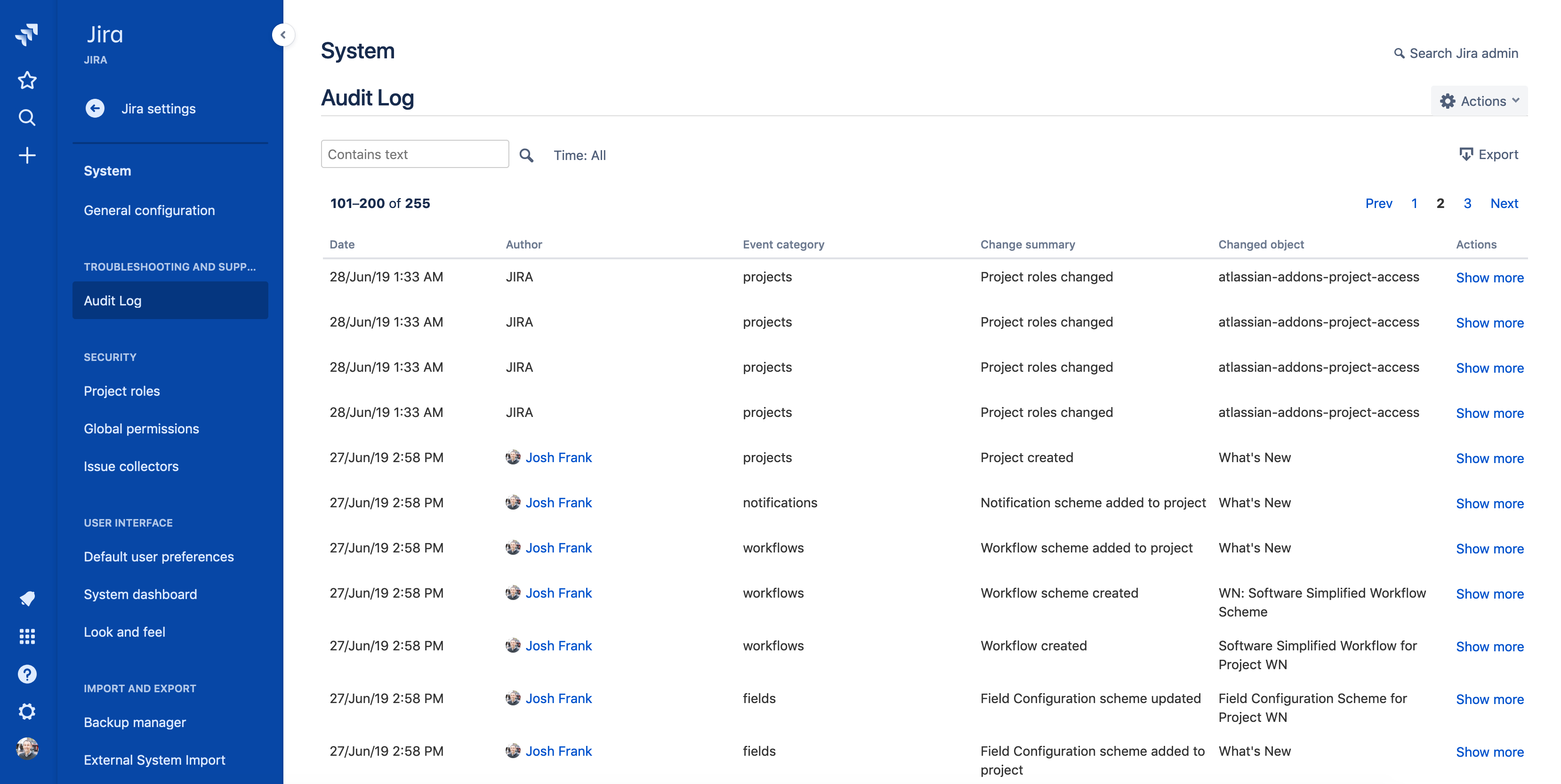 Audit logs screenshot
