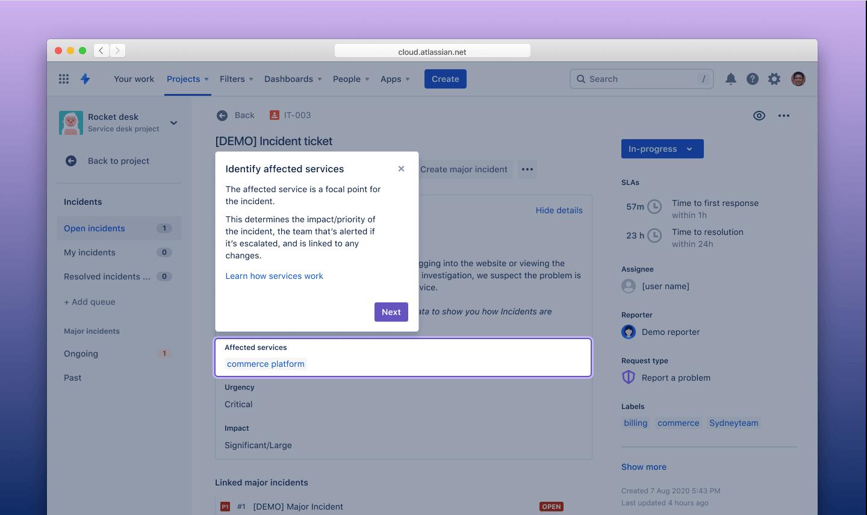 Affected services screenshot