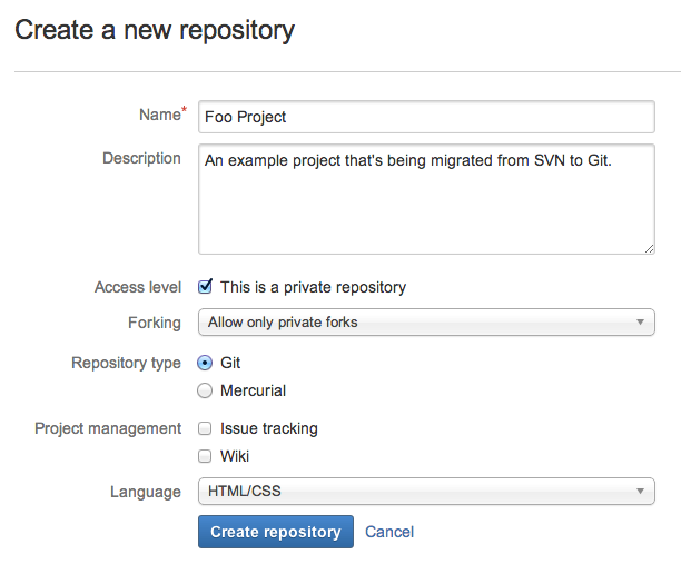 Git migration: Create Bitbucket repository