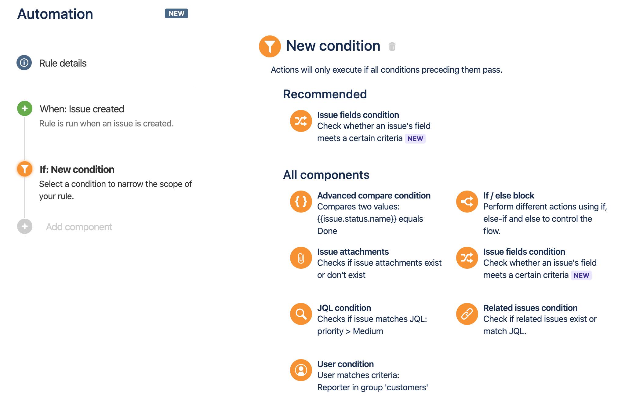 Liste der verfügbaren Bedingungen zur Regelerstellung.