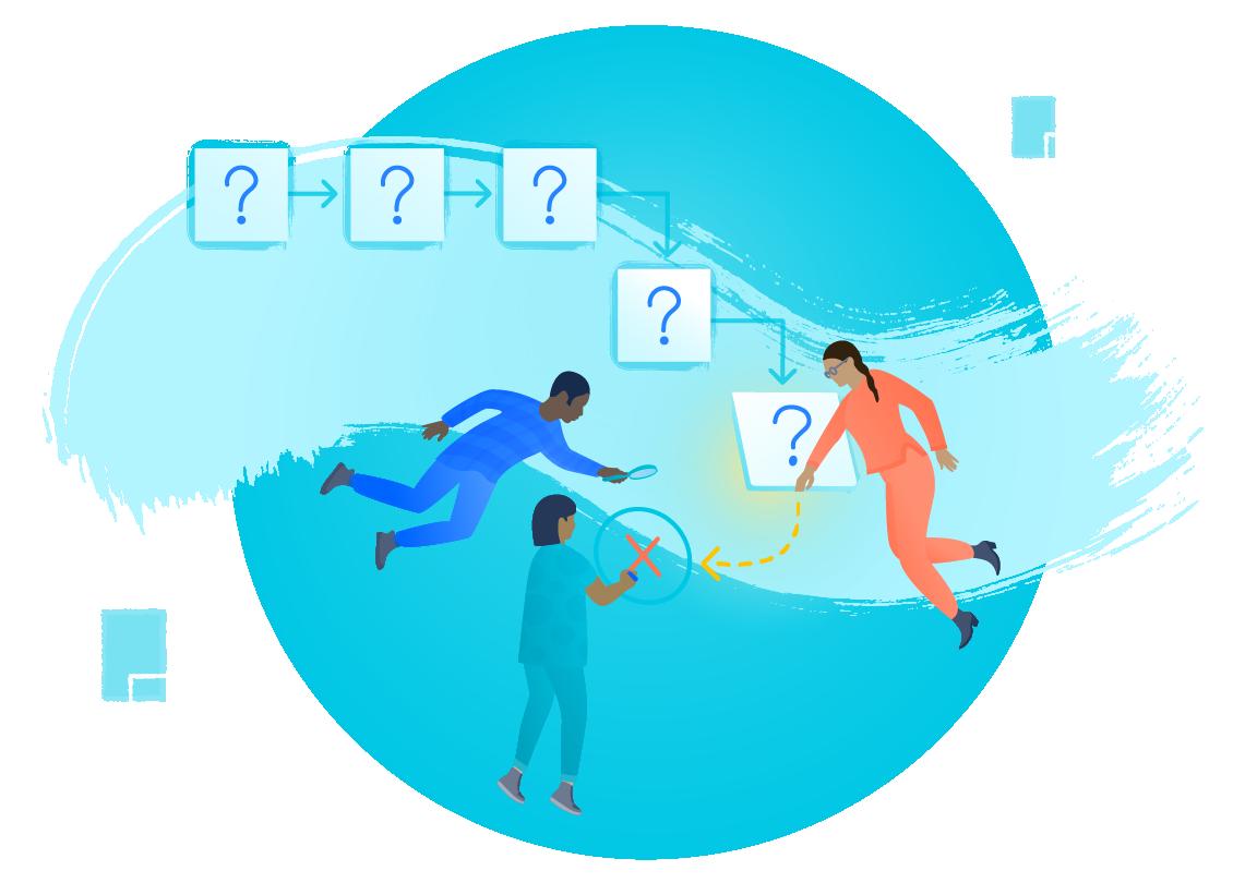 Personas flotando en el aire alrededor de cinco cuadros